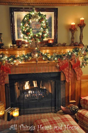 Christmas Open House, Just a peek at how this Southern Girl decks the halls~Welcome!, In the den, we don't have a Christmas tree but I light up the mantle!     , Holidays Design