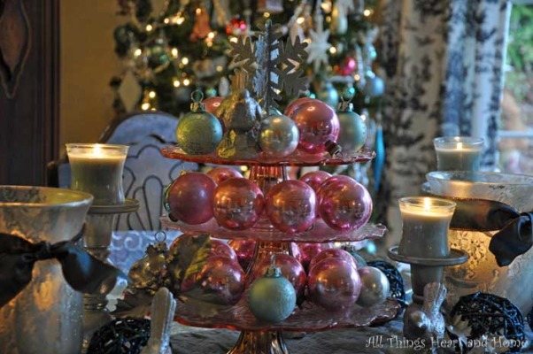 Christmas Open House, Just a peek at how this Southern Girl decks the halls~Welcome!, I softened the dinning room with calming teal, icy silver and splashes of pink..., Holidays Design