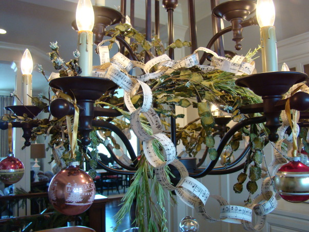 "Christ in the center of our Christmas!, Christmas in the Bungalow ~ incorporating pages of old books and sheet music, vintage shiny brite ornaments, and ""wrapping"" our home in God's word!, A close up of the music sheet paper chains and vintage ornaments...  , Holidays Design"