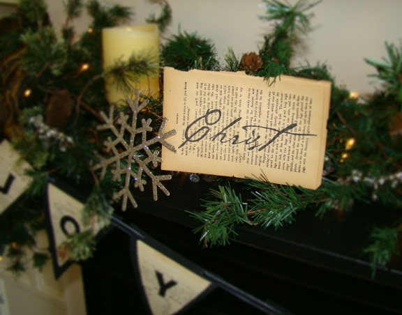 "Christ in the center of our Christmas!, Christmas in the Bungalow ~ incorporating pages of old books and sheet music, vintage shiny brite ornaments, and ""wrapping"" our home in God's word!,   , Holidays Design"