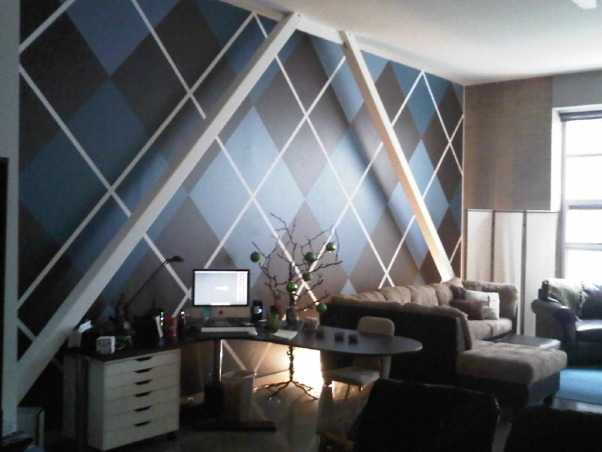 MY SON'S INCREDIBLE ARGYLE WALL, THIS SPACE HAD EXPOSED ANGLED SUPPORT BEAMS....SO WHY NOT PAINT THE WALL THAT FITS IN WITH THAT THEME? , Living Rooms Design