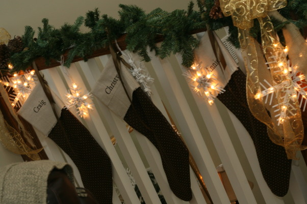 Holiday HOme Tour, We participated in our local home tour this year...whew...I have been doing Christmas since Halloween!  Lots of work....but lots of fun!, Handmade stockings...all 7 for $11.00 thanks to Hobby Lobby clearance fabric  , Holidays Design