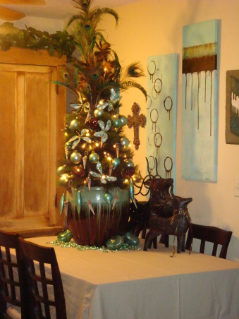 Turquoise Christmas, Tabletop tree in brown and truquoise pot. Decorated with turquoise and brown ornaments, seashells, dragonflies and feathers., Tabletop Christmas tree, Holidays Design
