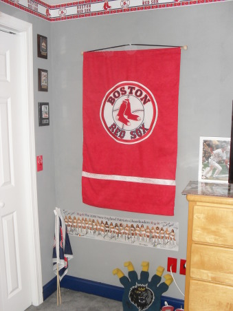 "James' Boston Red Sox Bedroom, James loves the Red Sox. His favorite player is Dustin Pedroia. Said, ""Dad, can I have Red Sox room."" Tada...Enjoy!, Bedrooms Design"