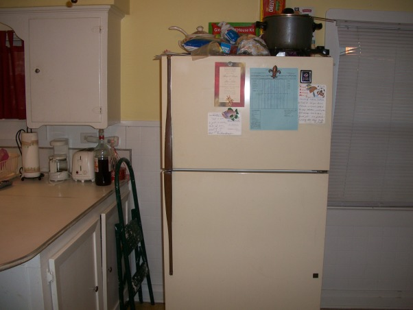 "Weird Kitchen Space with no flow or storage, My kitchen lacks storage and has absolutely no flow in my house.  I have a very small ""shotgun"" home in south Louisiana.  It is very cozy and homey but my kitchen is an eye sore and I have no clue what to do!!!  Help please!!!!, I would need cabinets added to the top of my fridge.   , Kitchens Design"