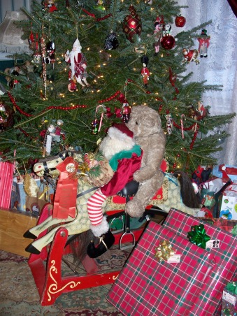 turn of the century christmas, rocking horse that i restored myself - when I rescued him he had no paint left, no mane and tail and only three legs! I even made the saddle and bridle from a piece of leather, rivets, and a purchased bit and stirrups, Holidays Design