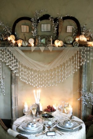 New Year's Eve - A Moment in Time, New Year's Eve for two! This French fireplace mantel was covered with old books, clocks and a French gumdrop fringe. The little table was an old yucky table that when covered, you'd never know.  , Holidays Design