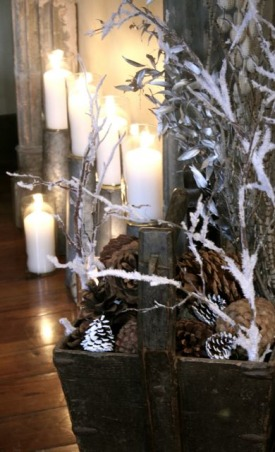 New Year's Eve - A Moment in Time, I used sap buckets from a hobby store to hold candles. Frosty branches on the side.   , Holidays Design