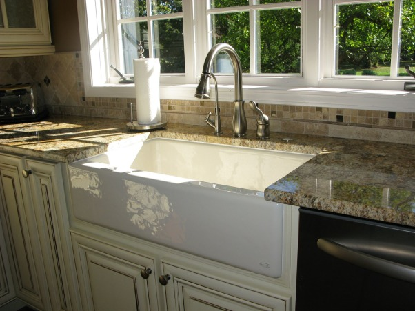 Dark and Gloomy to Bright and Open, French Country Kitchen Remodel.  Reposted as we made a few changes since the first post.  Great experience working with Kitchen Discounters of America in Lake Zurich, IL http://www.kitchen-discounters.com/ , Replaced shallow double bowl sink with a large Kohler Apron Sink.    , Kitchens Design