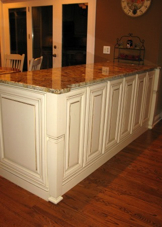 Dark and Gloomy to Bright and Open, French Country Kitchen Remodel.  Reposted as we made a few changes since the first post.  Great experience working with Kitchen Discounters of America in Lake Zurich, IL http://www.kitchen-discounters.com/ , Replaced a half wall with a breakfast bar.  Breakfast bar has three cabinets that open up to the family room.  Great for storing all of the kids art and school supplies.  The kids do their homework at the breakfast bar.  It also keeps food out of the family room.    , Kitchens Design