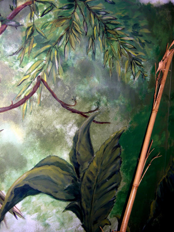 Amazon Rainforest Mural, Better pics-accidently deleted it all. I painted my son's room when he was a tween. He just wanted a toucan; I got carried away. Now he's 16 and way past ready for a change. It's a wrap-around mural (I'd painted clouds on the ceiling when it was a nursery, & they gotta go), and he was into studying the rainforest at the time.   He now wants a more neutral room-he has a brown/coffee Sami Hayek coverlet, sham, & a tan bed skirt. Furniture is mid-century simple & clean. The problem? He wants to keep the toucan-I'm not sure how that would look (it's about 3 feet tall) if we paint around it. Well, it's his room after all., flora & bamboo-mixing real elements gives a sense of life to the fantasy mural. We tied the bamboo together with a room-sized straw mat.     , Boys' Rooms Design