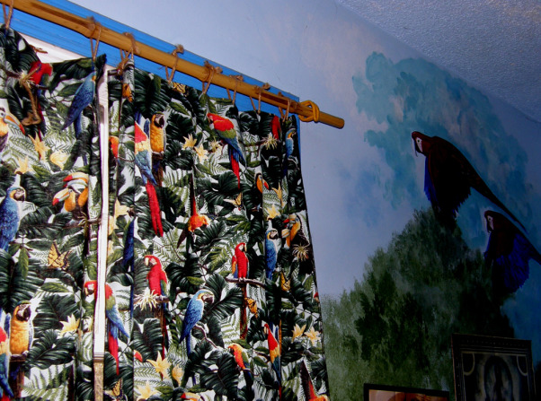 Amazon Rainforest Mural, Better pics-accidently deleted it all. I painted my son's room when he was a tween. He just wanted a toucan; I got carried away. Now he's 16 and way past ready for a change. It's a wrap-around mural (I'd painted clouds on the ceiling when it was a nursery, & they gotta go), and he was into studying the rainforest at the time.   He now wants a more neutral room-he has a brown/coffee Sami Hayek coverlet, sham, & a tan bed skirt. Furniture is mid-century simple & clean. The problem? He wants to keep the toucan-I'm not sure how that would look (it's about 3 feet tall) if we paint around it. Well, it's his room after all., I made inexpensive curtains using parrot/toucan fabric, brother gave me bamboo he cut, I used storage hooks bent for brackets & twine to hang them with.     , Boys' Rooms Design