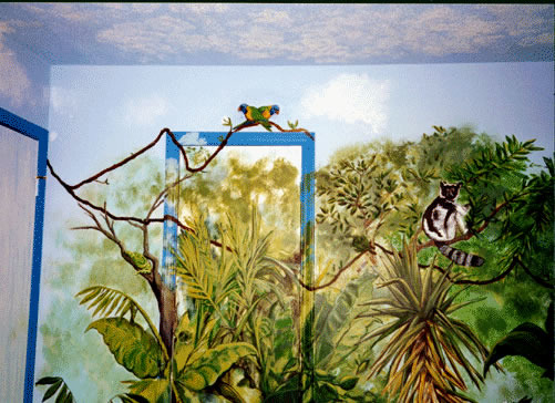 Amazon Rainforest Mural, Better pics-accidently deleted it all. I painted my son's room when he was a tween. He just wanted a toucan; I got carried away. Now he's 16 and way past ready for a change. It's a wrap-around mural (I'd painted clouds on the ceiling when it was a nursery, & they gotta go), and he was into studying the rainforest at the time.   He now wants a more neutral room-he has a brown/coffee Sami Hayek coverlet, sham, & a tan bed skirt. Furniture is mid-century simple & clean. The problem? He wants to keep the toucan-I'm not sure how that would look (it's about 3 feet tall) if we paint around it. Well, it's his room after all., The closet wall-tried to hide the closet just a bit.     , Boys' Rooms Design