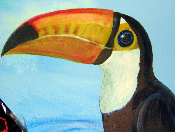 Amazon Rainforest Mural, Better pics-accidently deleted it all. I painted my son's room when he was a tween. He just wanted a toucan; I got carried away. Now he's 16 and way past ready for a change. It's a wrap-around mural (I'd painted clouds on the ceiling when it was a nursery, & they gotta go), and he was into studying the rainforest at the time.   He now wants a more neutral room-he has a brown/coffee Sami Hayek coverlet, sham, & a tan bed skirt. Furniture is mid-century simple & clean. The problem? He wants to keep the toucan-I'm not sure how that would look (it's about 3 feet tall) if we paint around it. Well, it's his room after all., Close up of 3-foot tall toucan. My son's favorite; the reason I painted his mural. It was just going to be a toucan, but I got carried away.     , Boys' Rooms Design