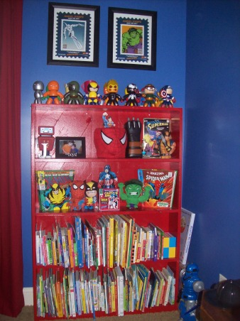 Marvel Superhero Room, My 4 year old son loves Superheros. We based his room off of Spiderman and the marvel comic book characters., This is an old bookshelf that my dad built before I was born. I re-painted it and it looks like new., Boys' Rooms Design
