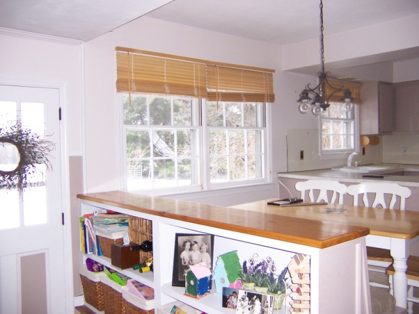 Kitchen reborn, an updated 60's kitchen, We made the most of our existing space by opening up walls (no structural walls) and replacing windows.  An unusual appliance arrangement allowed us to have a big country kitchen island .  Also allowed us to get rid of our old avocado refrigerator!, Before of the kitchen:  we kept the bookshelves below.       , Kitchens Design