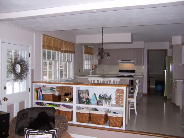 Kitchen reborn, an updated 60's kitchen, We made the most of our existing space by opening up walls (no structural walls) and replacing windows.  An unusual appliance arrangement allowed us to have a big country kitchen island .  Also allowed us to get rid of our old avocado refrigerator!, Before of our kitchen.  The wall at the far end of the kitchen is the one that we removed between the kitchen and the dining room to create an open feeling , Kitchens Design