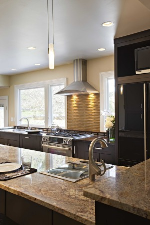 Kitchen reborn, an updated 60's kitchen, We made the most of our existing space by opening up walls (no structural walls) and replacing windows.  An unusual appliance arrangement allowed us to have a big country kitchen island .  Also allowed us to get rid of our old avocado refrigerator!, We chose a glass curved tile to create a basketweave pattern tile backsplash at the stove.      We changed the windows, but used the existing window rough openings to avoid structural work.       , Kitchens Design