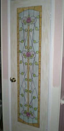"Mobile Home Makeover, Makeover of my 90 y/o mother-in-law's '60's mobile home that was a DISASTER and ""decorated"" as such!!  Transformed it into a cute Granny's Cottage., This pantry door is to the L of the hutch.  I painted it to look like it has a stained glass insert.  , Dining Rooms Design"
