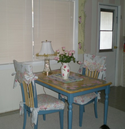 "Mobile Home Makeover, Makeover of my 90 y/o mother-in-law's '60's mobile home that was a DISASTER and ""decorated"" as such!!  Transformed it into a cute Granny's Cottage., Yes, it is pink and white, but it's for a 90-y/o lady...hence Granny-style!  I found this great table and chairs at a thrift shop and painted it w/roses. , Dining Rooms Design"