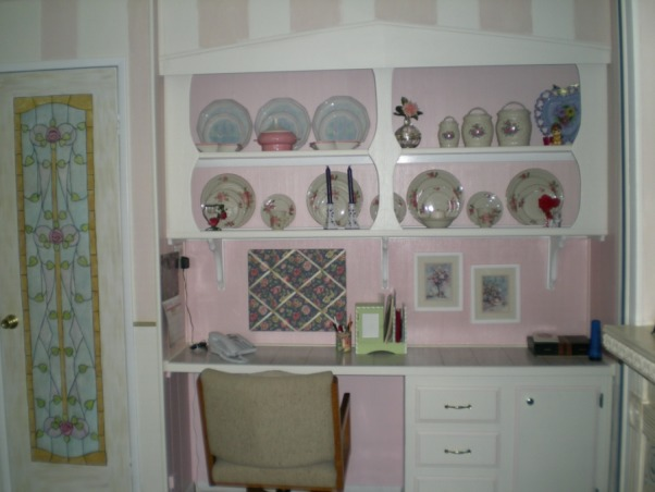 "Mobile Home Makeover, Makeover of my 90 y/o mother-in-law's '60's mobile home that was a DISASTER and ""decorated"" as such!!  Transformed it into a cute Granny's Cottage., Now a cute hutch. , Dining Rooms Design"