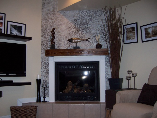Basement redo, I tiled my fireplace and added a mantle.  Love the neutral colors., Basements Design