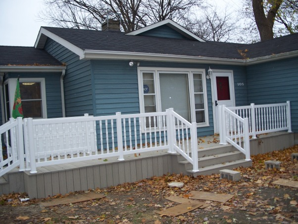 Do It Yourself Porch, Front porch built by homeowner on One leg., Railings done.  , Porches Design