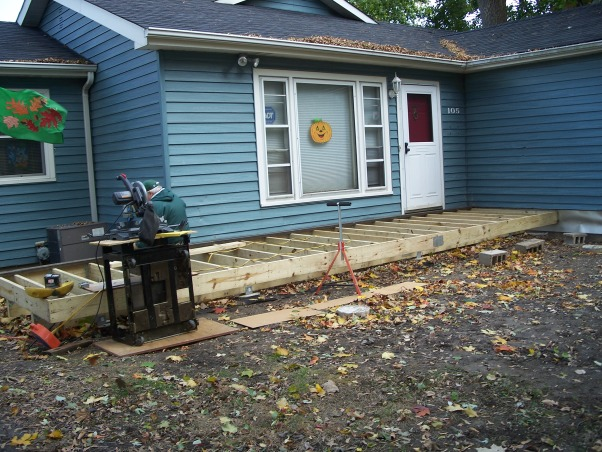 Do It Yourself Porch, Front porch built by homeowner on One leg., Building porch with one leg, chop saw and a screw gun.    , Porches Design