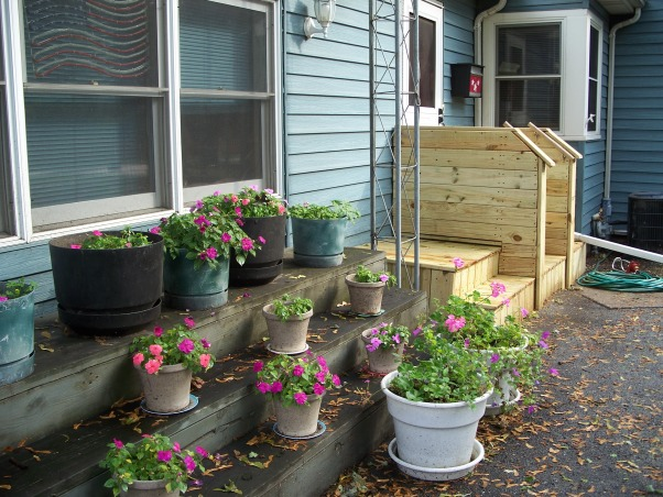 Do It Yourself Porch, Front porch built by homeowner on One leg., Other porch covered., Porches Design