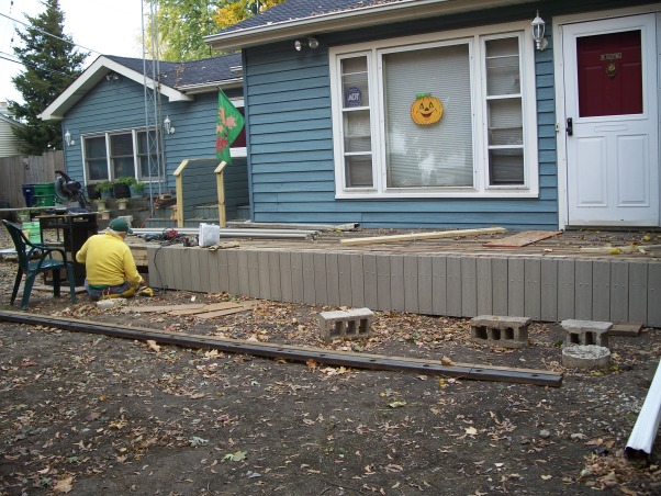 Do It Yourself Porch, Front porch built by homeowner on One leg., Skirting goes on.   , Porches Design
