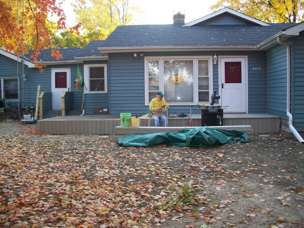Do It Yourself Porch, Front porch built by homeowner on One leg., Top Boards Go On.  , Porches Design