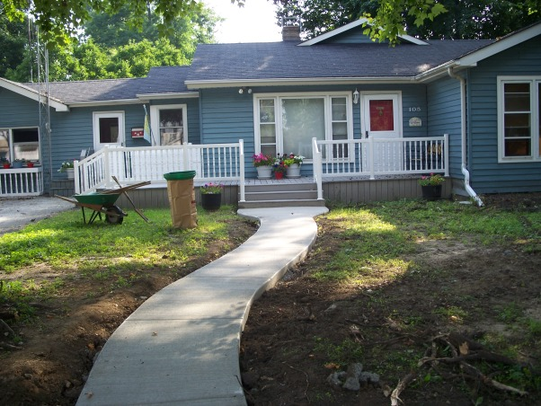 Do It Yourself Porch, Front porch built by homeowner on One leg., Sidewalk done. , Porches Design