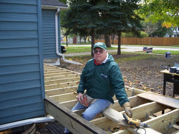 Do It Yourself Porch, Front porch built by homeowner on One leg., Building porch with one leg and a screw gun.   , Porches Design