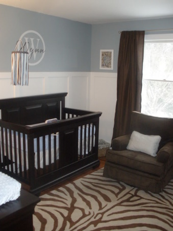 Blue, White & Brown Little Girl Nursery, We decided to go with blue, white & brown colors for our little one.  We made the decision before we found out we were having a girl. We figured either way we'd love the color combo. We installed Brazilian Coa Hardwood, and my husband made the wainscotting for the room.  (His first major DIY projects), We have the Cocoon 7000 crib and dresser. I purchased the wall decal & ribbon mobile from Etsy.  The chair is from Babies R Us, and the rug is from Overstock. , Nurseries Design