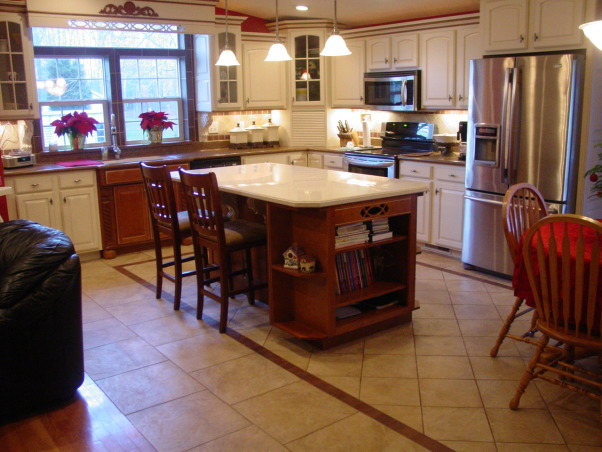 manufactured home makeover, Trying to give our manufactured home a custom look. How to do think the kitchen turned out.  New everything, new drywall, lighting, appliances, cabinets and tile flooring, After view from dining room  , Kitchens Design