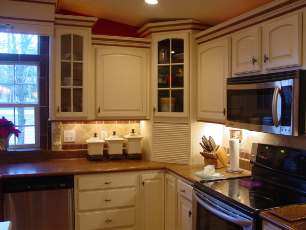 manufactured home makeover, Trying to give our manufactured home a custom look. How to do think the kitchen turned out.  New everything, new drywall, lighting, appliances, cabinets and tile flooring, Undercounter lighting-solid surface countertops  , Kitchens Design