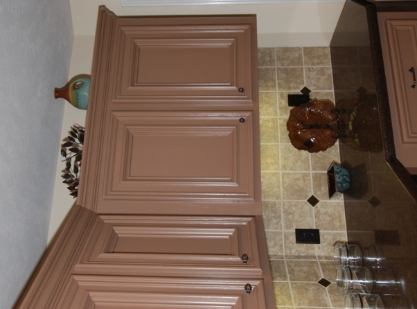 Brown Blue Transitional Kitchen Transformation, Kitchen update without cost and mess of remodeling!  We painted the cabinets and added raised panel molding, quartz countertops, tile backsplash, new lighting and accessories., Detail of cabinets and accessories. , Kitchens Design
