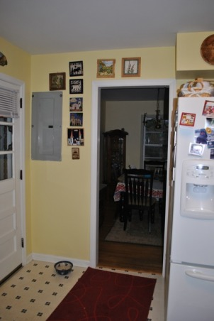 Small 1955 Kitchen, 1955 original cabinets tiny kitchen.  Need help with ideas to better utilize space, 1955 Kitchen View 6 - 3rd doorway (into dinning room) next to outside kitchen door and electric panel., Kitchens Design