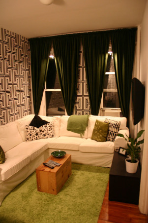 Small 300 Sq Ft NYC Apartment, This is my small junior 1 bedroom apartment in Manhattan.  I am happy with the use of space, color and graphic wall paper!  Hope you like it!, This is the living room.  The room is approximately 8' wide by 11' long. , Other Spaces Design
