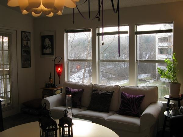 Her Highness Hepburn, This living room I put together in Pittsburgh several years ago features a deep purple accent wall with bright pops of white, black and, of course, Audrey Hepburn planted right in the middle.  Since the apartment had vaulted ceilings, I knew the accent wall could handle a deep eggplant color like this.  When I moved to the area, I had no furniture to speak of, and an Ikea just around the corner.  Voila!, post change, Living Rooms Design