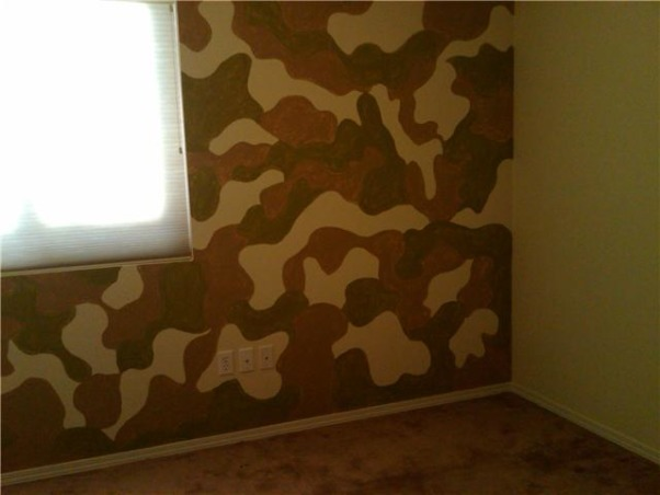 Camo room, Painted a camo design on my 4 year olds room to give a more grown up look. , Boys' Rooms Design