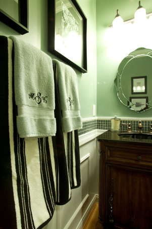 Repost of Small powder Room, Better photos reposted, I had the towels monogrammed for a personal touch. , Bathrooms Design