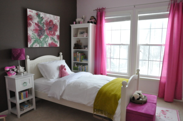 Hot Pink Room, Hot pink window treatment and storage cubes were inspired by the night lamp, which was the first purchase.  Still looking for the perfect bedding that won't clash with the wall art and the cherry blossoms rug., White bedding with green throw , Girls' Rooms Design