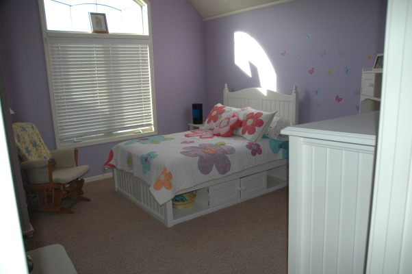 3-Year Old Bedroom, We took down the toddler bed and put a full size bed set in my daughter's room.  She absolutely loves it., View from the doorway.  A dresser is to the right, and a desk is on the other side of it. , Girls' Rooms Design