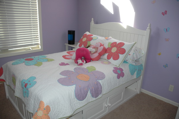 3-Year Old Bedroom, We took down the toddler bed and put a full size bed set in my daughter's room.  She absolutely loves it., Closeup of the bed.  The bedding is from JC Penney. , Girls' Rooms Design