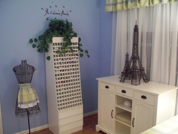 A French Sewing Room, This is my creative room, for crafts, sewing and writing manuscripts. , This is a thread storage unit I picked up on sale.  It's wonderful to see all of the thread colors at once., Home Offices Design