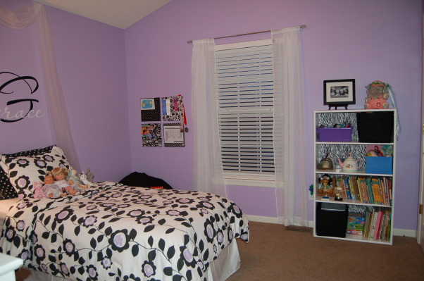 A big girl room for my 6 year old, This purple, black, and white themed room was a surprise birthday present for my 6 year old daughter.  I used LOTS of ideas from many different rooms on Rate My Space.  Thank you to everyone for your wonderful ideas! My daughter loved it!, Girls' Rooms Design