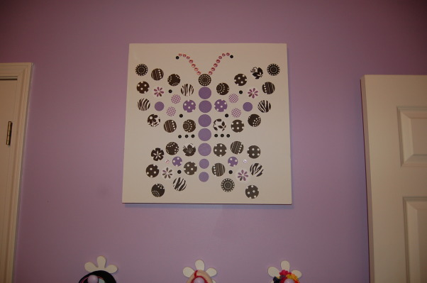 A big girl room for my 6 year old, This purple, black, and white themed room was a surprise birthday present for my 6 year old daughter.  I used LOTS of ideas from many different rooms on Rate My Space.  Thank you to everyone for your wonderful ideas! My daughter loved it!, I made the butterfly canvas using scrapbook paper...I got the idea from art work shown in the Pottery Barn Kids catalog., Girls' Rooms Design