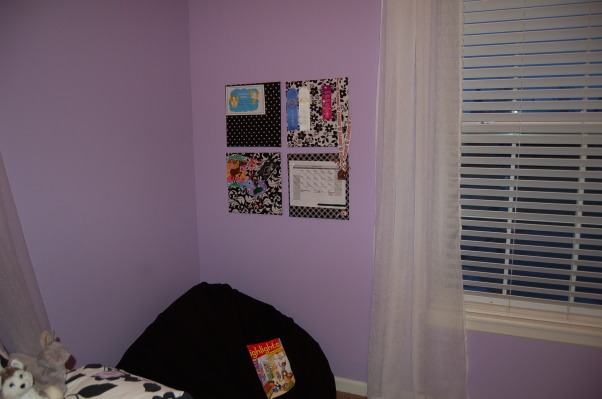 A big girl room for my 6 year old, This purple, black, and white themed room was a surprise birthday present for my 6 year old daughter.  I used LOTS of ideas from many different rooms on Rate My Space.  Thank you to everyone for your wonderful ideas! My daughter loved it!, A comfy space for reading. , Girls' Rooms Design