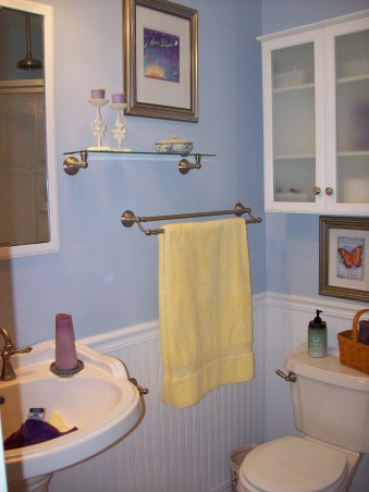 Small Bathroom Upgrade, Very small, 6x6, master bathroom, The shelf and double towel rack provide more storage, as well as, the wall cabinet over the toilet., Bathrooms Design